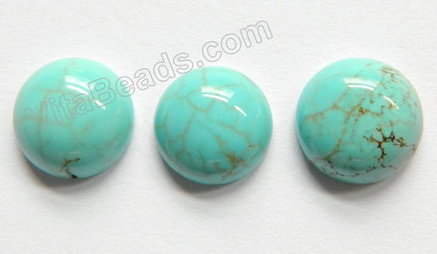 Cracked Blue Green Turquoise  -  Smooth Round Cabochon