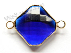 Sapphire Crystal  -  Gold Trim Faceted Diamond Connector
