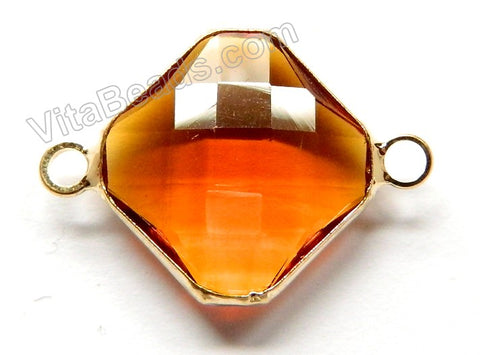 Amber Crystal  -  Gold Trim Faceted Diamond Connector
