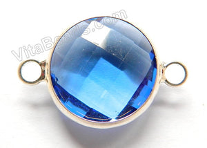 Sky Blue Crystal  -  Silver Trim Faceted Round Connector