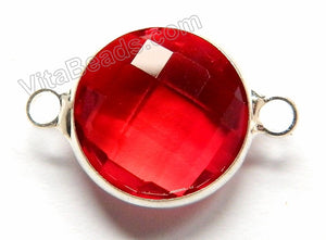 Bright Red Crystal  -  Silver Trim Faceted Round Connector