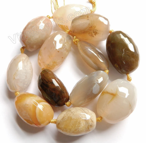 "Grey Yellow Natural Agate - Faceted Tumble Necklace 16""  Size Graduated 18x30mm-25x35mm"