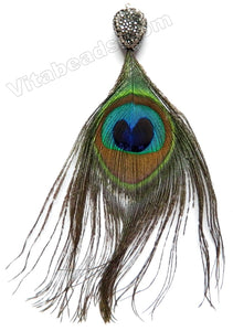 Peacock Feather Tassel Pendant w/ Marcasite    Total approximate 130mm long