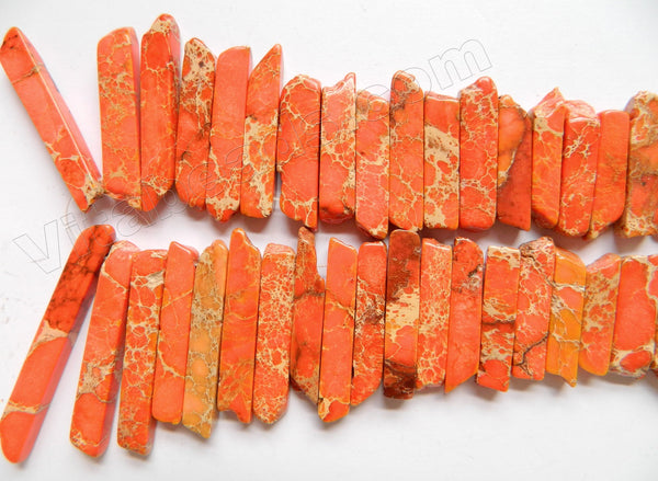 "Orange Impression Jasper  -  Graduated Top-drilled Long Rectangle Slabs  16""     6 x 15 mm to 8 x 70 mm"