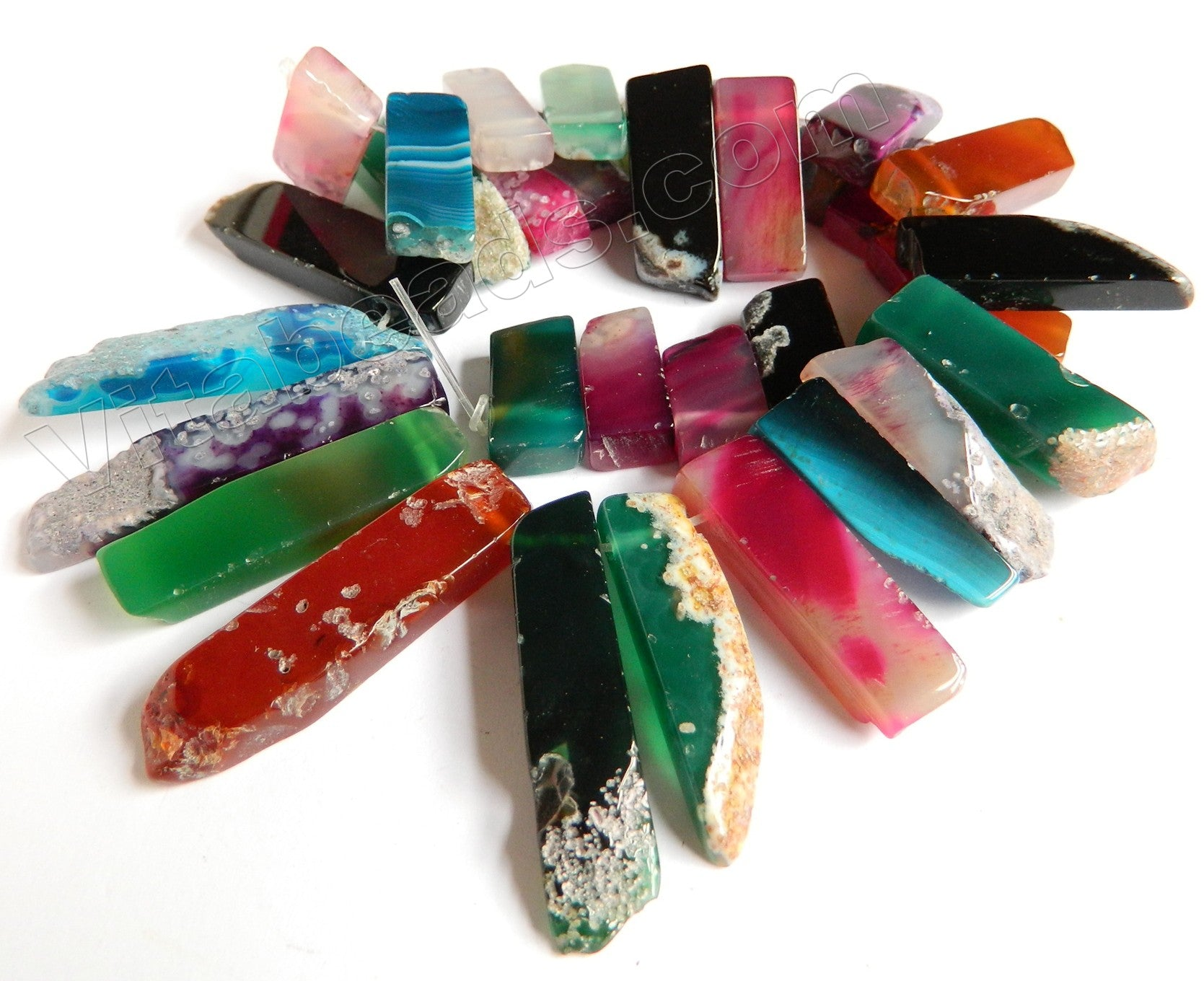 "Mixed Bright Agate  -  Graduated Top-drilled Long Rectangle Slabs  16""   10 x 20 mm to 10 x 50 mm"