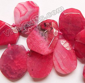 Fuchsia Fire Agate - 25x30 to 30x40mm Graduated Top-drilled Machine Cut Irregular Drop 16""