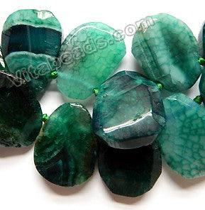 Emerald Fire Agate - 25x30 to 30x40mm Graduated Top-drilled Machine Cut Irregular Drop 16""