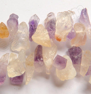 "Rough Light Citrine Amethyst  -  Top Drilled Chips Drops  16""    6 - 10 x 20 mm"