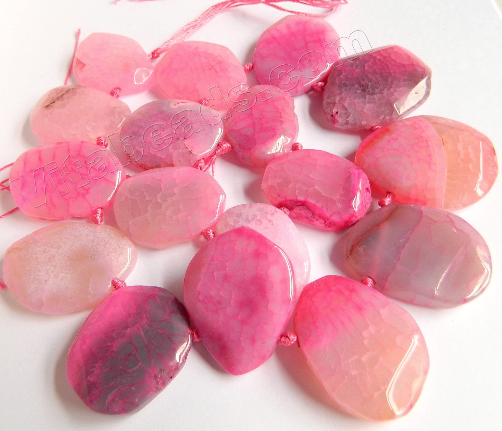 Pink Fire Agate - 25x30 to 30x40mm Graduated Top-drilled Machine Cut Irregular Drop 16""