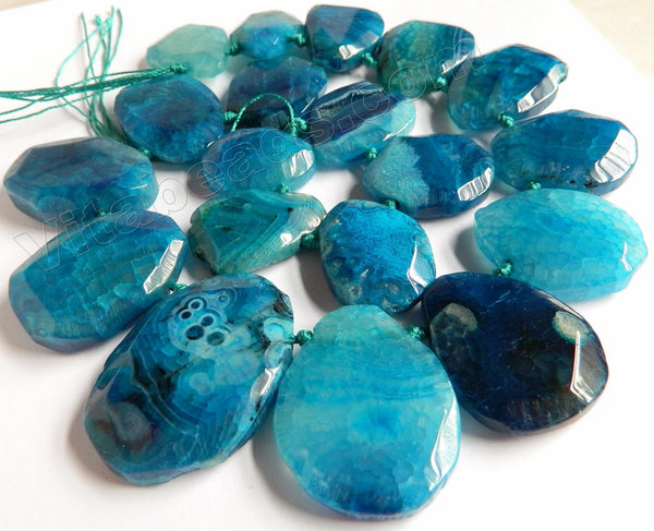 Blue Fire Agate - 20x30 to 30x40mm Graduated Top-drilled Machine Cut Irregular Drop 16""