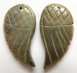 Pyrite Carved Wing Pendant, Earring Beads