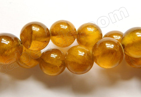 Amber Semi Transparent Jade  -  Smooth Round Beads  16""