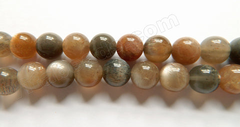 Dark Grey Red Moonstone Mixed A  -  Smooth Round Beads  16""