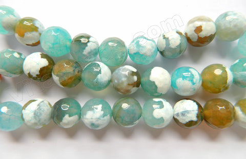 Light Aqua Brown White Fire Agate  -  Faceted Round  15""