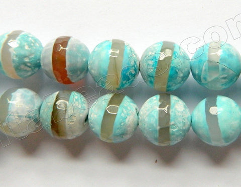 DZi Agate Turquoise Blue w/ Line  -  Faceted Round  15""
