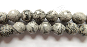 Grey Picasso Jasper  -  Faceted Round  15""