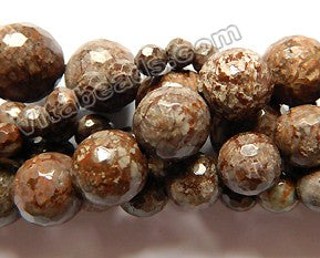Chinese Unakite / Brown Snowflakes Obsidian - Faceted Round  15""
