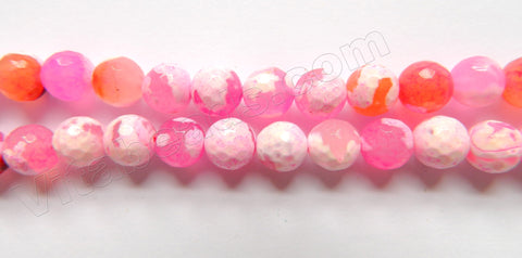 Light Fuchsia White Fire Agate  -  Faceted Round  15""