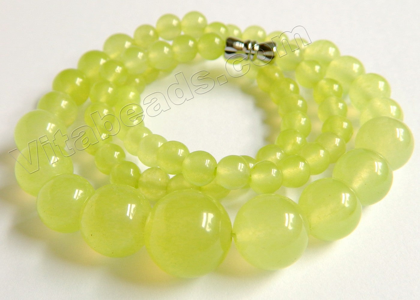 Prehnite Jade   Graduated Smooth Round Strand 16""