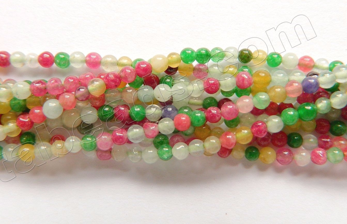 "Mixed Green Fuchsia Jade  -  Small Smooth Round  14.5""    2mm"