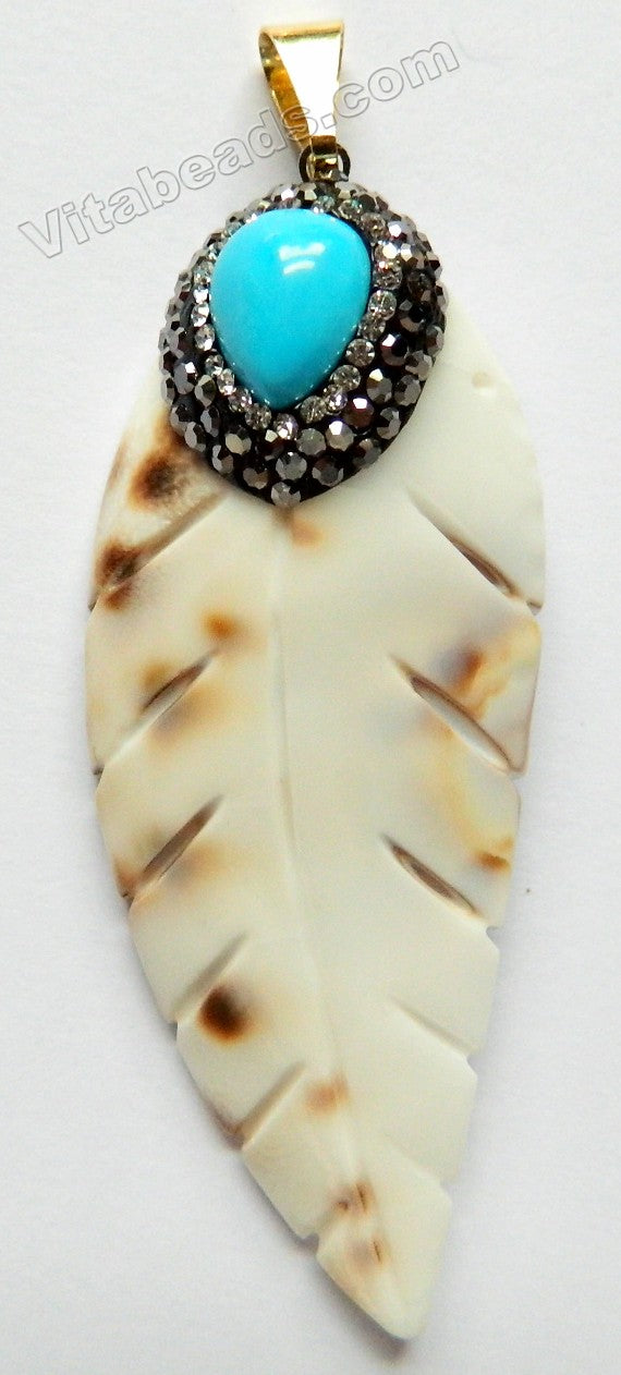 Shell Pendant - Carved Long Leaf Crystal Paved Bail with Blue Turquoise