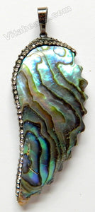 Abalone Pendant  -  Wing w/ Crystal Paved Bail