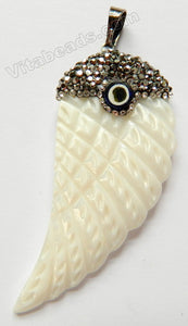 White Shell Pendant  -  Carved Wing   w/ Crystal Paved Bail