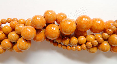 Color Fossil Agate  05  -  Smooth Round Beads 16""