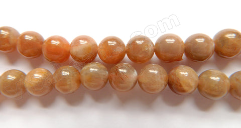 Red Moonstone AA -  Smooth Round Beads  16""