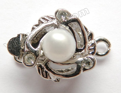Brass White Round Pearl Clasp  10 x 12 mm