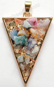 Mixed Druzy Crystal Triangle Pendant - w/ Gold Edge &. Bail