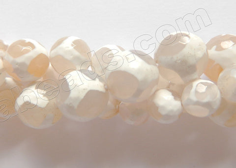 DZi Agate White w/ Football Line - Faceted Round  15""
