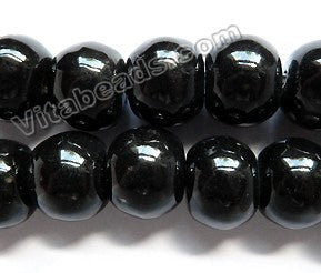 Porcelain Beads - Black - 20x15mm Big Smooth Drum 13""