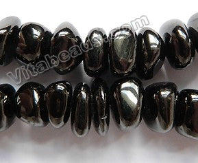 Black Amber Natural AA  -  14mm Smooth Chip Tumbles  16""