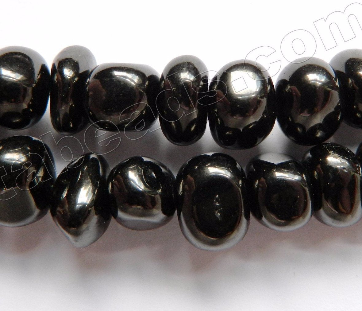 Black Amber Natural AA  -  10-14mm Smooth Tumbles  16""