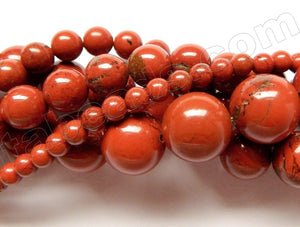 Red Jasper AA  -  Smooth Round Beads  15.5""