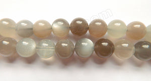 Grey Moonstone Mixed AAA  -  Smooth Round Beads  16""