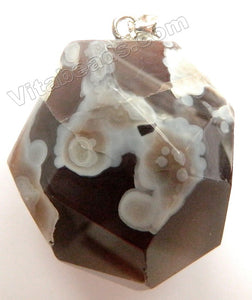 Machine Cut Nugget Pendant - Botswana Agate - 01 with Silver Bail