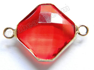 Bright Red Crystal  -  Gold Trim Faceted Diamond Connector