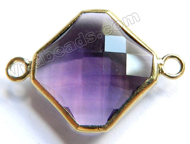 Amethyst Crystal  -  Gold Trim Faceted Diamond Connector