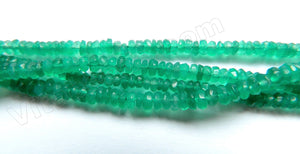 "Emerald Natural AA  -  Faceted Button  13""    4-5mm"