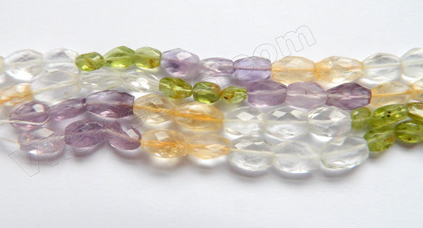 Multi Gems 4 Color  -  6-10mm Faceted Oval  14""