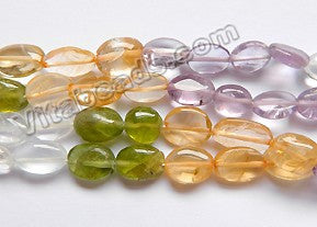 Multicolor Gems (4 Colors)  -  6-10mm Flat Oval 15""