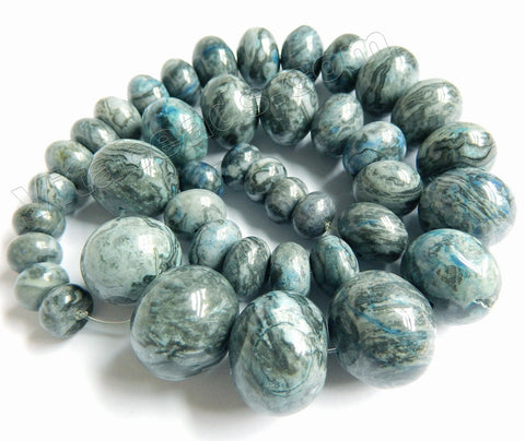 "Apatite Blue Brazilian Agate   Graduated Smooth Rondel Strand 16""    6x10mm - 15x20mm"