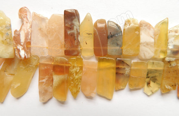 "Yellow Opal  -  Graduated Top-drilled Long Rectangle Slabs  16""      8 x 20 mm to 10 x 35 mm"
