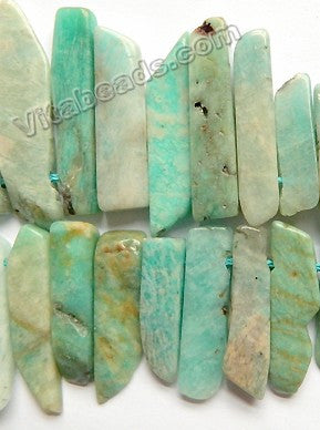 Mixed Russian Amazonite  -  8x25-45mm Graduated Flat Long Slabs Top Drill w/ Spacer 16""