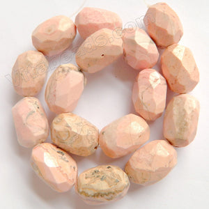 "Light Brazil Pink Rhodochrosite  -  Faceted Tumble  16""     18 x 25 x 16 mm"