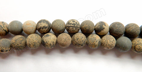 Frosted Paint Brush Jasper  -  Smooth Round Beads 15""