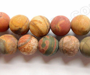 Frosted Fire Impression Jasper  -  Smooth Round Beads  16""