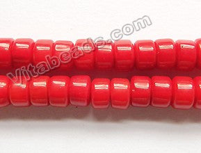 "Red Bamboo Coral A  -  Smooth Drum 16""    6x4mm"